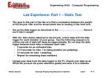 lab experience part 1 static test