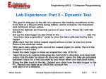 lab experience part 2 dynamic test