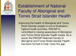 establishment of national faculty of aboriginal and torres strait islander health