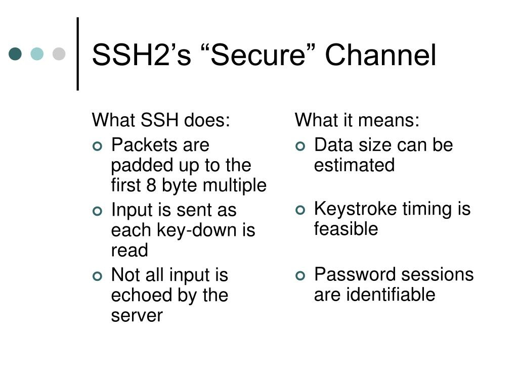 What SSH does: