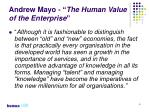 andrew mayo the human value of the enterprise