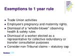 exemptions to 1 year rule