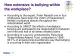 how extensive is bullying within the workplace
