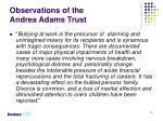 observations of the andrea adams trust