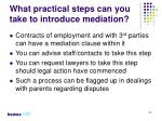 what practical steps can you take to introduce mediation