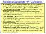 selecting appropriate ppp candidates