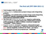 the first call fp7 ssh 2011 1