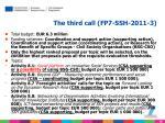 the third call fp7 ssh 2011 3