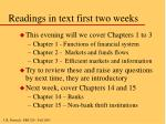 readings in text first two weeks
