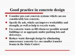 good practice in concrete design