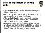 effect of impairment on driving skills