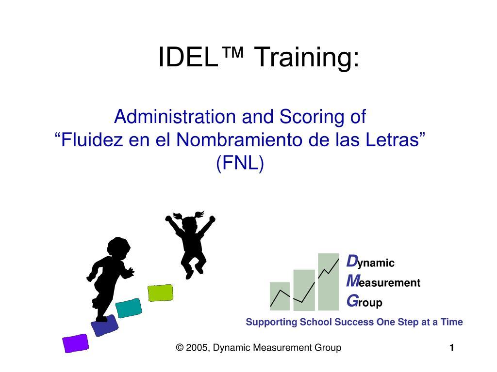 administration and scoring of fluidez en el nombramiento de las letras fnl l.