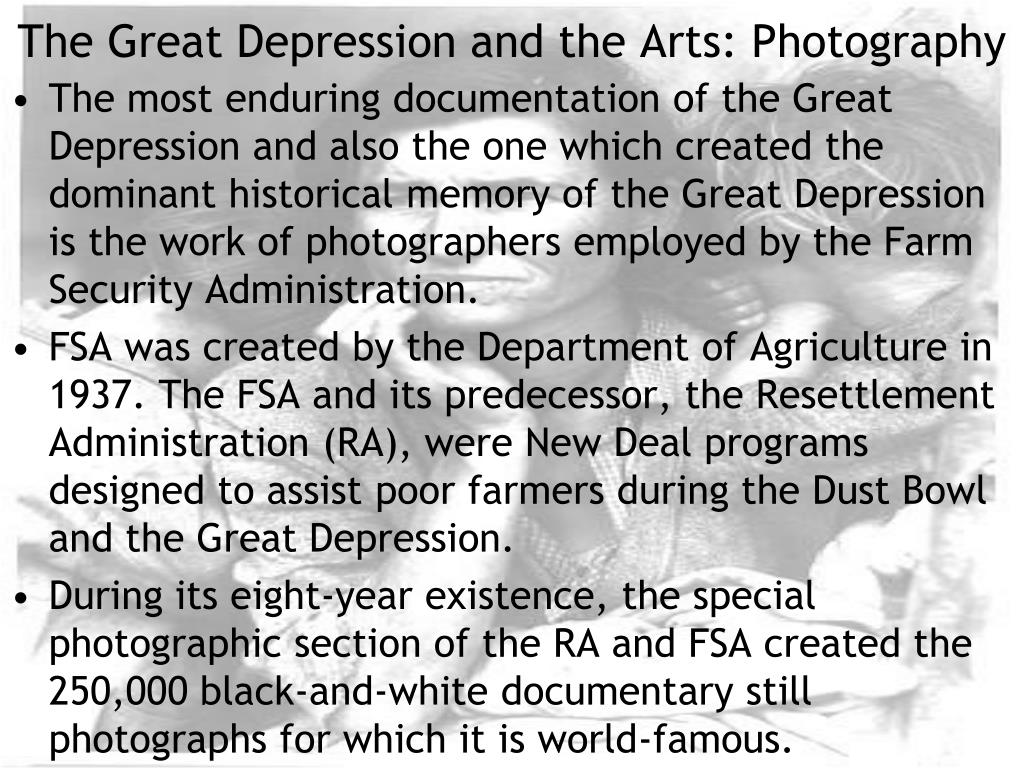 the great depression and the arts photography l.