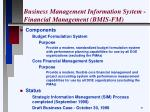 business management information system financial management bmis fm
