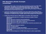 site regulatory binder example continued