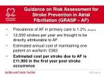 guidance on risk assessment for stroke prevention in atrial fibrillation grasp af