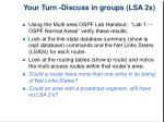 your turn discuss in groups lsa 2s