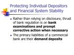 protecting individual depositors and financial system stability