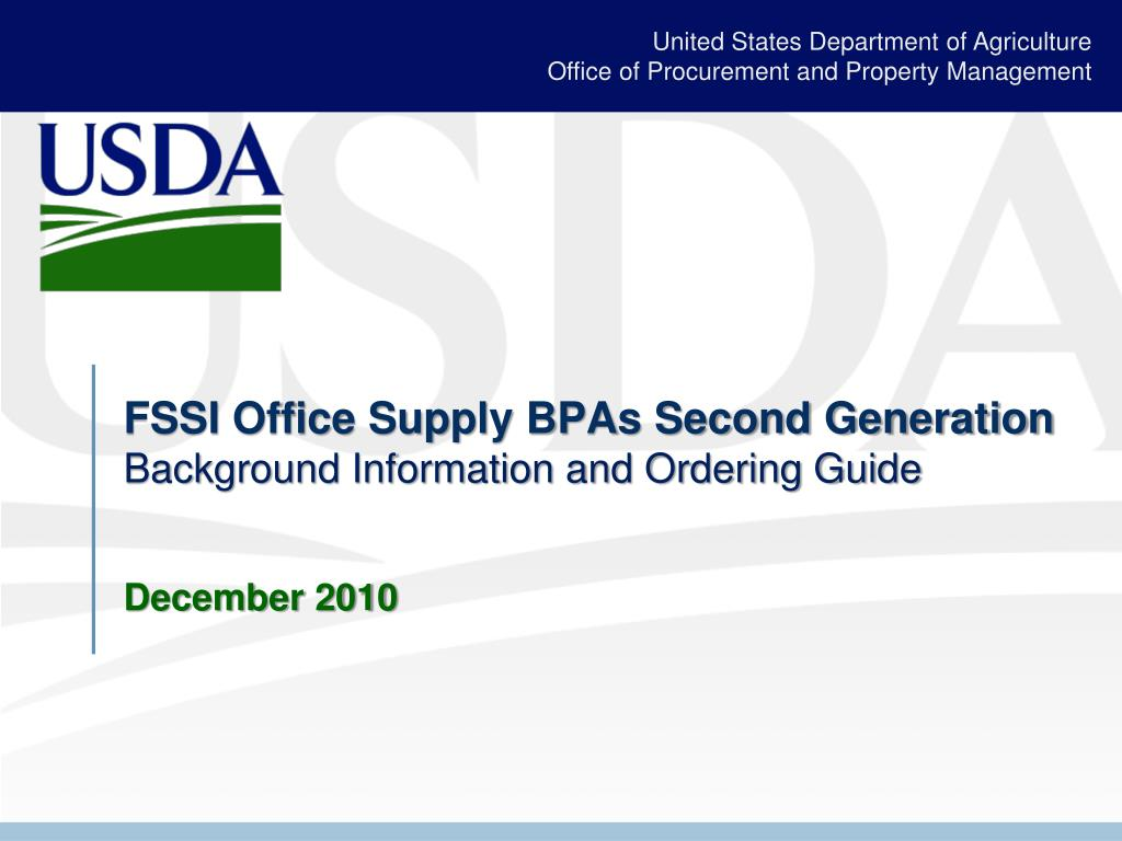 fssi office supply bpas second generation background information and ordering guide december 2010 l.