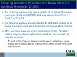 ordering procedure for orders at or below the micro purchase threshold 3 000