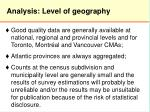 analysis level of geography