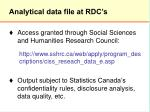 analytical data file at rdc s