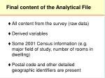 final content of the analytical file