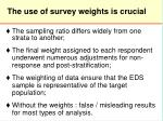 the u se of survey weights is crucial