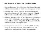 prior research on banks and liquidity risks