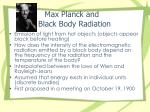 max planck and black body radiation