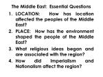 the middle east essential questions
