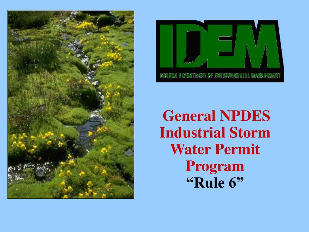 general npdes industrial storm water permit program rule 6 l.