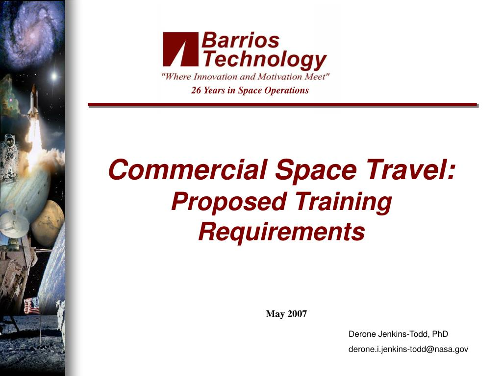 commercial space travel proposed training requirements l.
