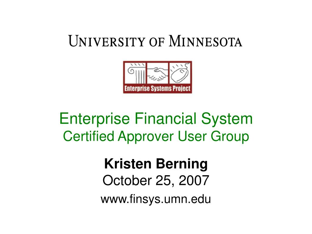enterprise financial system certified approver user group l.