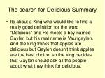the search for delicious summary