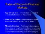 rates of return in financial markets