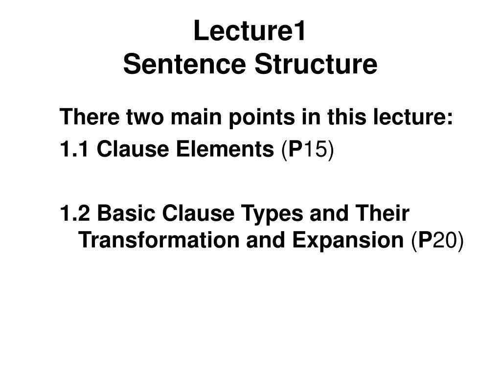lecture1 sentence structure l.