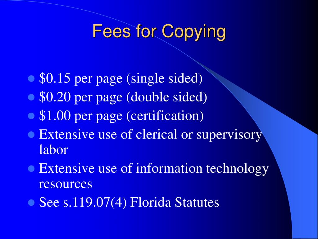 Fees for Copying
