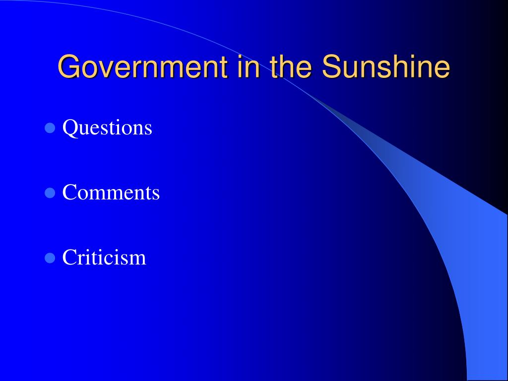 Government in the Sunshine
