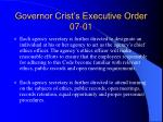 governor crist s executive order 07 0118