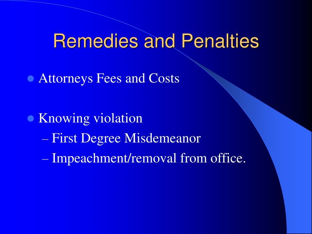 Remedies and Penalties