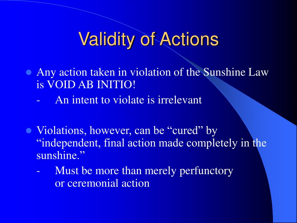Validity of Actions