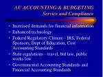 au accounting budgeting service and compliance