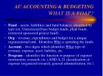 au accounting budgeting what is a foap