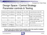 design space control strategy parameter controls testing