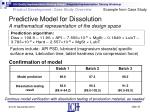 predictive model for dissolution a mathematical representation of the design space