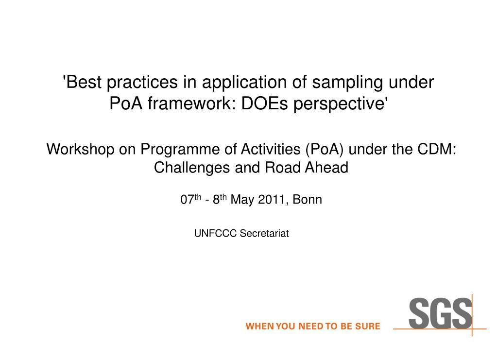 best practices in application of sampling under poa framework does perspective l.