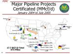 major pipeline projects certificated mmcf d january 2004 to july 2005