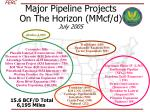 major pipeline projects on the horizon mmcf d july 2005