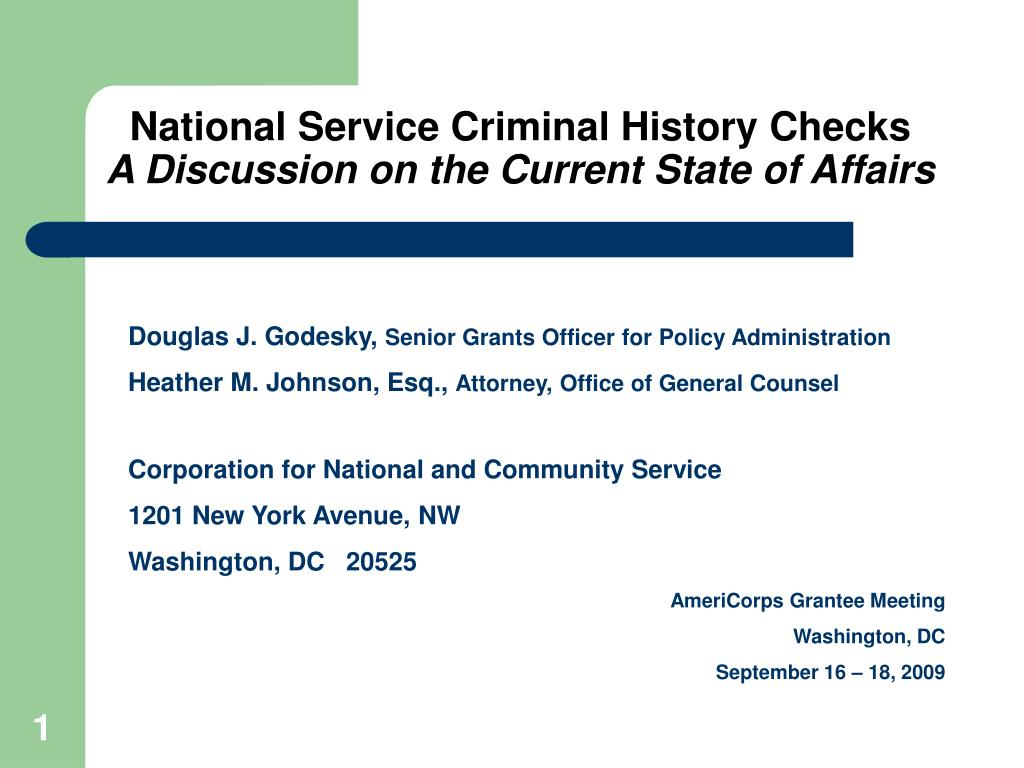 national service criminal history checks a discussion on the current state of affairs l.